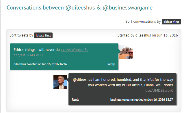 Twitter conversation between @dileeshus and @BusinessWarGames.