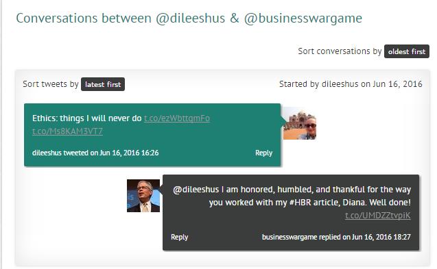 Twitter conversation between @dileeshus and @BusinessWarGames.
